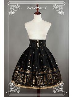 High Waist Lace Up Lolita Skirt / SK - Golden Swan Lake by Neverland Lolita