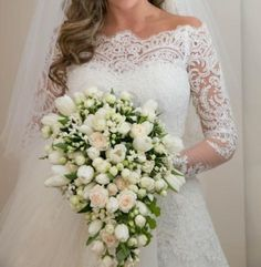 2015 New Boat Neck Lace Wedding Dress Bridal Gown Proms Deb Party Ball Custom on Luulla