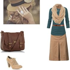 Tan skirt,  medium green pullover, brown belt and bag, solid tan scarf (substitute a print), different shoes.