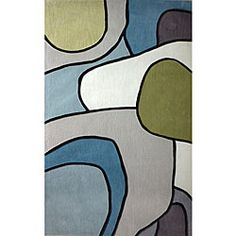 Handmade Alexa Pino Contour Map Pattern Blue/ Grey Rug (76 x 96), $331.99 | www.findbuy.co/brand/rugs-usa #RugsUSA