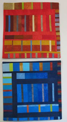 """Two quilts by Robin Ferrier, commissioned by Patsy at Patsy Thompson Designs: """"For me, this type of linear quilting is very hard as it makes me tense up, so I have nothing but respect for people who do it well."""""""