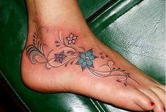 Flower Tattoo - Foot Tattoos - Swirly Tattoos | JawDropInk