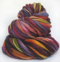Handspun, Hand dyed Falkland wool yarn in DejaVu colorway by FeltStudioUK