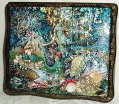 "Russian Lacquer Box Kholui Mermaid "" Underwater Treasures "" Hand Painted | eBay"