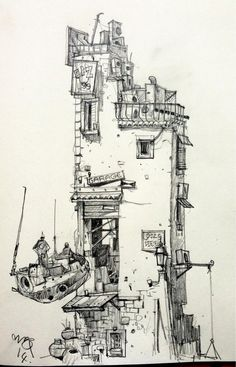 // Pinned by Ellen Rus. Doodle Drawing, Drawing Sketches, Art Drawings, Art Environnemental, Environment Sketch, Illustrations, Illustration Art, Drawn Art, Urban Sketchers