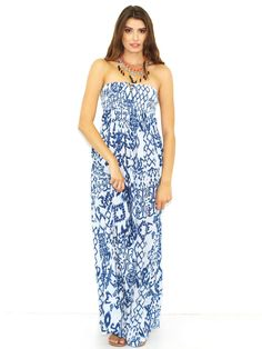 West Coast Wardrobe Maxi Dress with Dropped Back Print in Blue