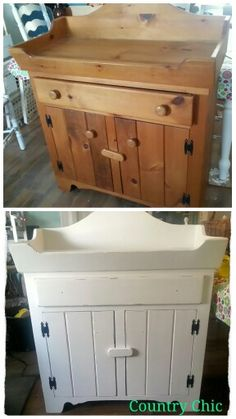 Dry sink turned change table Dry Sink, Chic Shop, Wood Work, Country Chic, Baby Items, Storage Chest, Woodworking, Change, Cabinet