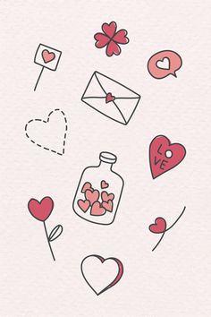 valentine dibujos doodles doodle amor drawings valentines drawing easy simple drawn premium liebes kawaii rawpixel laden gezeichneten erstklassigen vektor sie
