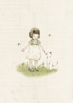 girl with cat forever friends Illustration wall art kids by holli