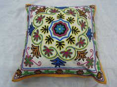 Suzani Embroidery Cushion Cover Pillow Embroidered by Labhanshi, $22.00