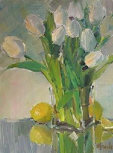 Lemons and Tulips by Nancy Franke Oil ~ 16 x 12