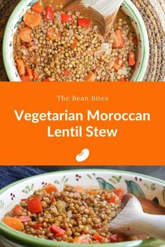 This harissa-spiked vegetarian Moroccan lentil stew recipe includes the perfect balance of sweet and savory with a touch of heat. It's perfect as a main course or a side dish to serve alongside couscous or other Moroccan dishes. Best Lentil Recipes, Bean Recipes, Soup Recipes, Vegetarian Recipes, Healthy Recipes, Healthy Meals, Delicious Recipes, Yummy Food, Moroccan Stew
