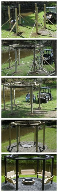 Very cool with fire pit in the middle! And a hammock for every other one!