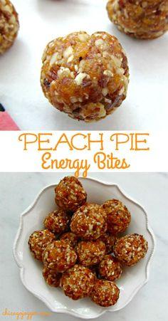 Peach Pie Energy Bites - a healthy, no bake snack or dessert recipe