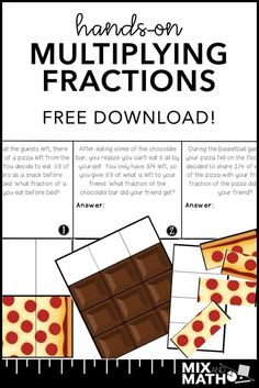 Grab this FREE hands-on multiplying fractions math activity. Give students the opportunity to discover and Fraction Activities, Hands On Activities, Math Resources, Math Activities, Multiplication Activities, Math Enrichment, Math Games, Multiplying Fractions, Dividing Fractions