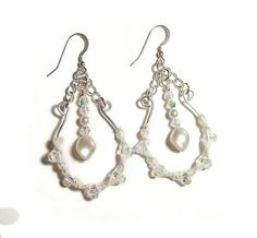 On Sale White Macrame with Swarovski Crystal and Pearl Earrings by frisado. Explore more products on http://frisado.etsy.com