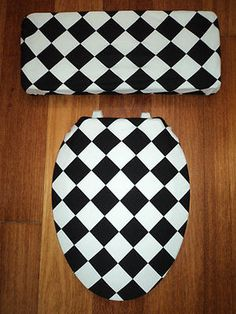 black and white toilet seat. Black and White Diamond Toilet Seat Cover Set Mermaid Pin Up Bathroom  Domestic