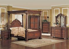 Kamella Traditional Queen Poster Canopy Bed Marble 5 Piece Bedroom Furniture Set #Traditional #BedroomSets