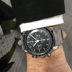 Omega Speedmaster with Gray leather strap Omega Moonwatch, Camera Watch, Omega Speedmaster, Stainless Steel Rings, Luxury Watches For Men, Beautiful Watches, Cool Watches, Watch Bands, Jewelry Watches
