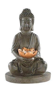 Lunartec Solar-LED Deko Lampe Buddha für Garten & Terrasse,