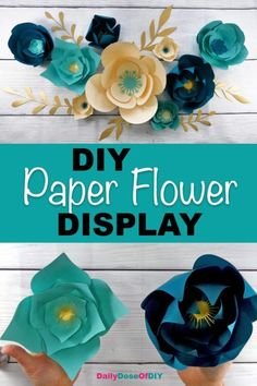 Make a DIY Paper Flower Wall Backdrop with your Cricut - Free Paper Flower SVG Included Learn how to make a paper flower backdrop at home with this easy tutorial. Use these three free paper flower SVG files to create a stunning wall display Paper Flowers Craft, How To Make Paper Flowers, Paper Flower Wall, Giant Paper Flowers, Diy Flowers, Paper Flower Making, Flower Crafts, Scrapbook Paper Flowers, Rolled Paper Flowers
