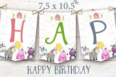 Farm Animals banner, Birthday banner, Funny Banner, Party Animals Banner , Animals banner Party Animals, Jungle Animals, Animal Party, Cute Baby Animals, Farm Birthday, Happy Birthday, Diy Knitting Projects, Baby Animal Videos, Baby Shower Tags