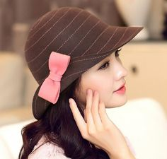 Fashion bow bowler hat for winter womens wool hat