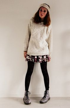 H&M Woolen Headband, Vintage Knit Sweater, Pull & Bear Floral Pleated Skirt, Dr. Martens Floral Boots