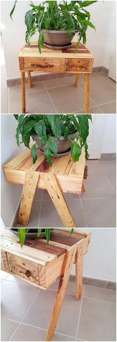 Isn't it a beautiful creation of wood pallet idea in the shape of table as well as planter pot stand concept? This combination effect of the table definitely make it look so impressive and inspiring for sure. As it is simple in designing therefore it would look elegant and graceful.