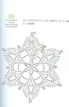 from Crochet lacework Crochet Diagram, Crochet Motif, Crochet Designs, Crochet Doilies, Crochet Flowers, Crochet Patterns, Embroidery Patterns, Crochet Snowflake Pattern, Crochet Stars