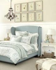 For extra luxury, we used a winged headboard in a gorgeous blue