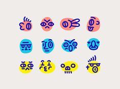 Another personal project based on random faces. Emoji Design, Design Ios, Icon Design, Branding Design, Logo Design, Kids Branding, Flat Design, Digital Illustration, Graphic Illustration