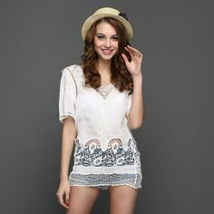 >> Click to Buy << Luxury Hollow Out Embroidered Bikini Cover Blouse Flowers Pattern Short Sleeve Casual Elegant Summer Shirts Blouses for Women #Affiliate