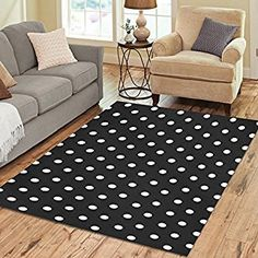 Amazon.com: Yochoice Non-slip Area Rugs Home Decor, Hipster White Black Polka Dot Floor Mat Living Room Bedroom Carpets Doormats 60 x 39 inches: Kitchen & Dining