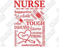 Nurse Word Art Appreciation Gift Vinyl Sign Decal Cutting File in SVG, EPS, DXF, JPEG, and PNG Format