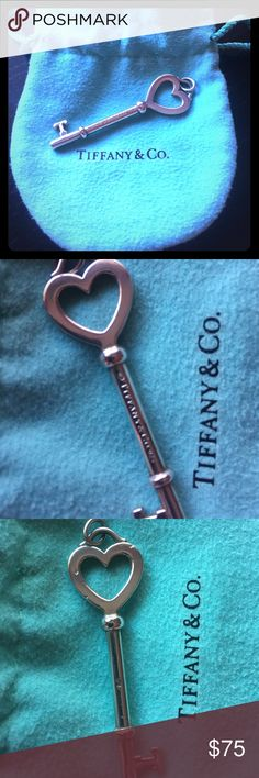 "Tiffany Large Heart Key Authentic Tiffany heart key pendant, no chain included. Used with a few knicks on the underside (shown in last photo) Sold with Tiffany bag and box. 2"" in length. I accept reasonable offers! Tiffany & Co. Jewelry Necklaces"