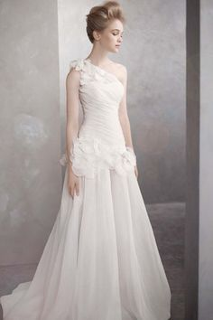 One-Shoulder Basket-Weave Organza Gown- White by Vera Wang  (A-line, Chapel Train)
