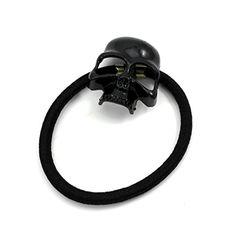 Women's Retro Punk Fashion Metallic 3D Skull HairBand Rope Tie Wrap Ponytail Holder Black foreveryang