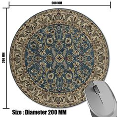 Persian carpet circular pattern prints Mouse Pad Small Size Round Gaming Non-Skid Rubber Pad Size Round 200 MM #Affiliate