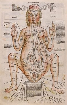 Figure of a pregnant woman, a woodcut with hand color, is from Fasciculus Medicinae, one of the first printed medical books with anatomical illustrations. This collection of medical treatises was published in Venice in 1491.