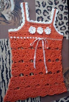 Orange Baby Dress with White Flowers free crochet graph pattern