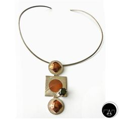"""Integration Necklace: made from alloy to finish. Copper and silver 950 necklace with green zircon. Blessing: """"…may the ability to integrate every aspect of your life bring balance to you…"""" #necklace #copper #silver #zircon"""