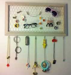 frame + staples + Chicken wire + Hooks Gotta make this! I love jewelry displays :)