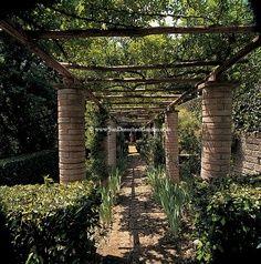 Italian garden stone columns and beams