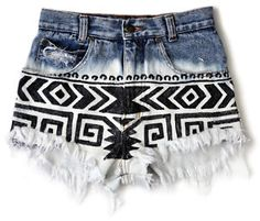 ANTI - Denim High Waist Cut Off Shorts Festival Tribal Navajo Ombre