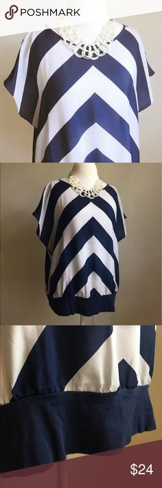 ann taylor chevron top Breezy, beautiful blouse from Ann Taylor. Blue and very pale lavender chevron stripes. Cotton band at waist, dolman sleeves. Very good condition! Size XL. / Ann Taylor, AT, blouse, top, shirt, dolman, chevron, stripes, striped, stripped / Ann Taylor Tops