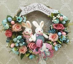Resultado de imagem para guirlandas de pascoa Floral Wreath, Wreaths, Diy, Xmas, Craft, Bunny Rabbit, Cute Things, Crowns, Flowers