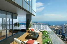 suelo de madera en la terraza moderna con tumbonas cómodas