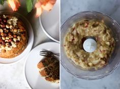 Vegan Carrot Cake with coconut frosting and roasted hazelnuts