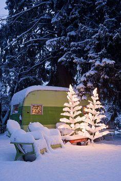 Vintage Trailer in Winter Wonderland